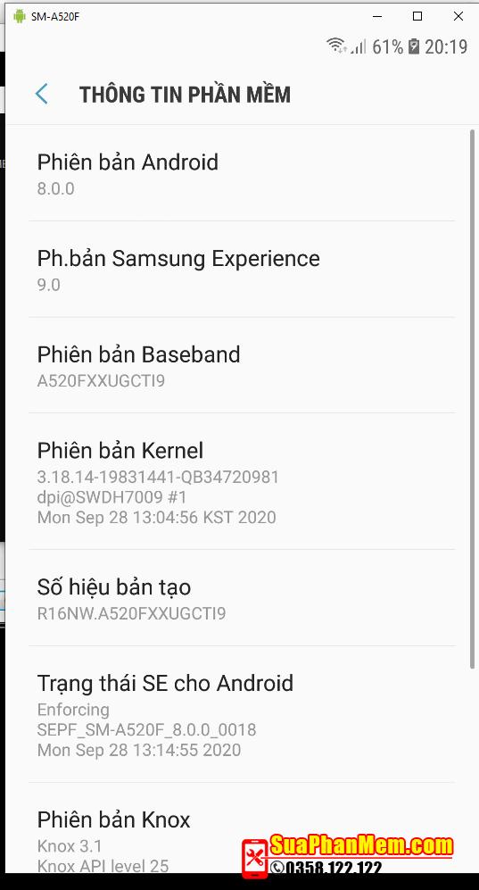 Samsung A520F mất imei sửa thành công